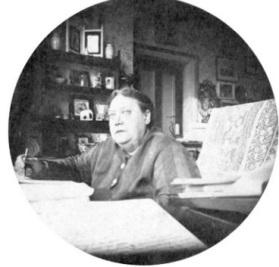 "H.P. Blavatsky writing ""The Secret Doctrine"" in London."