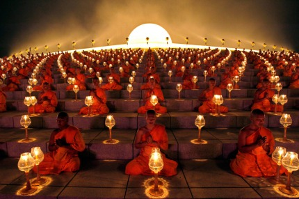 Some Theravada Buddhist monks of Thailand