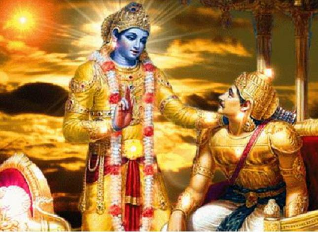 Krishna and Arjuna in the Bhagavad Gita