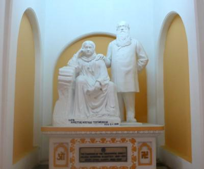 The famous statue of HPB and Col. Olcott at the international headquarters of the Adyar Theosophical Society, Adyar, Chennai, India.