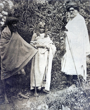 Some members of the Toda tribe or race, photograph dated 1871.
