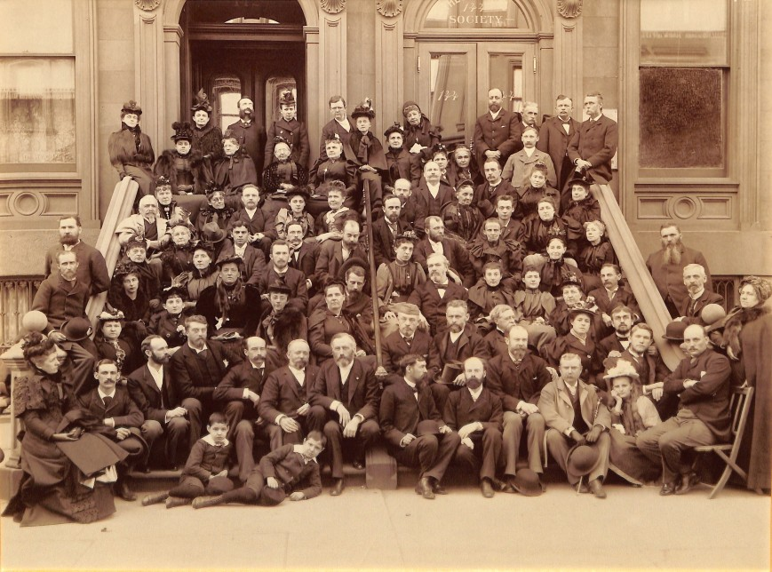 The 1893 Theosophical Convention in New York City. William Judge is seated front centre, next to the hand rail. Photo courtesy of the United Lodge of Theosophists in Los Angeles.